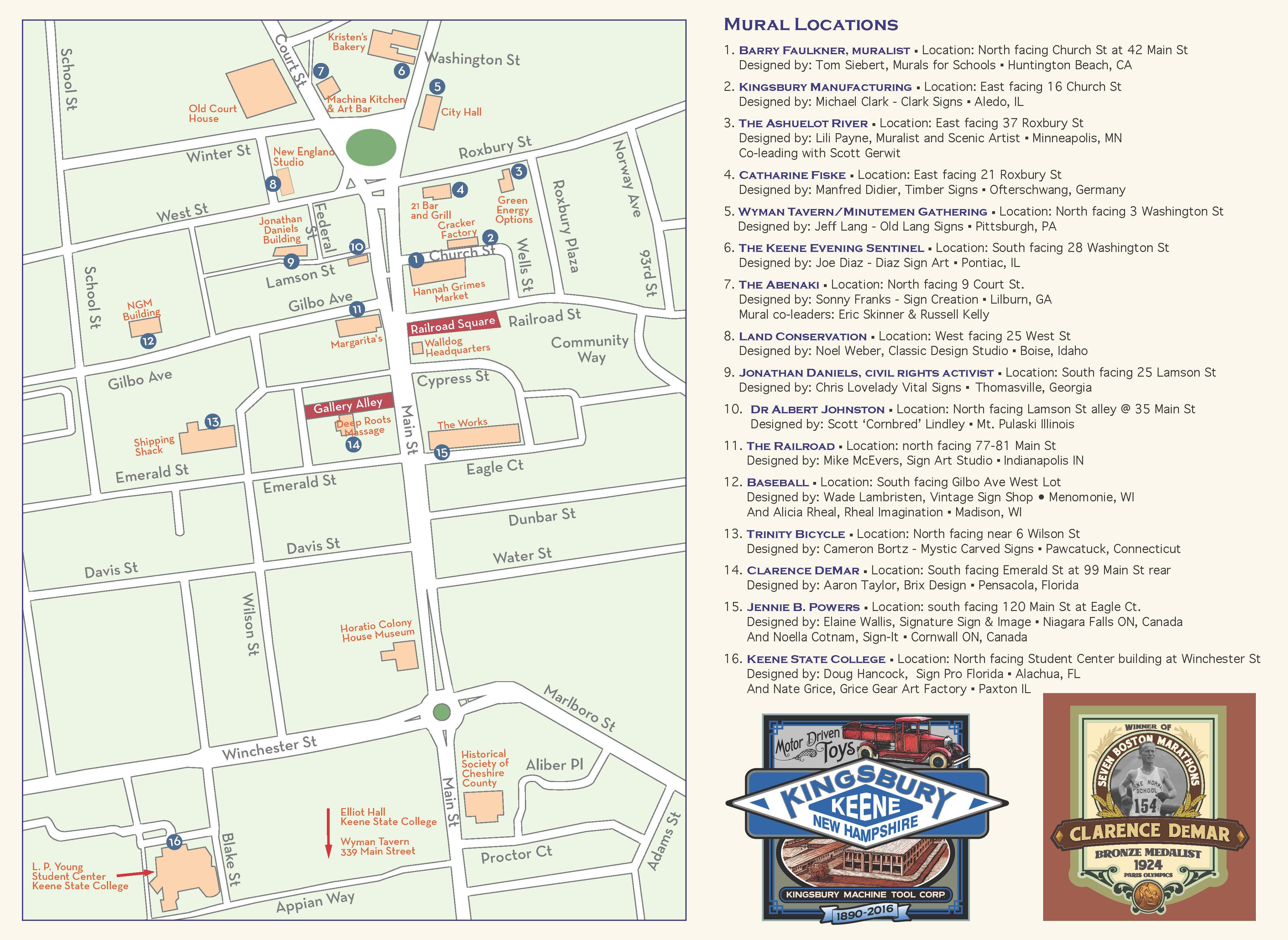 keene new hampshire map Walldog Mural Downtown Map City Of Keene keene new hampshire map